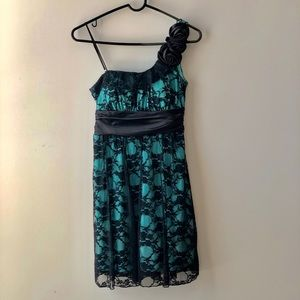 Party Dress with Lace Overlay